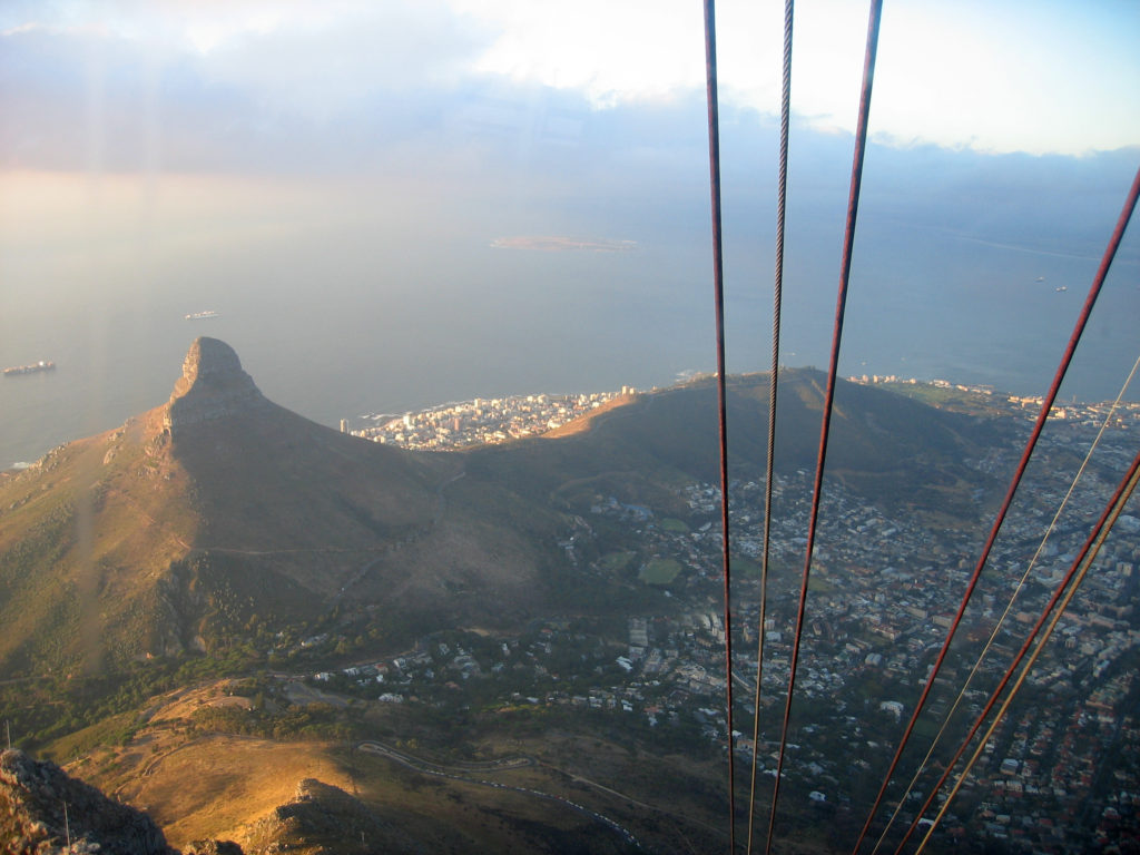 Cape Town and Signal Hill from the aerial tramway car as it descends