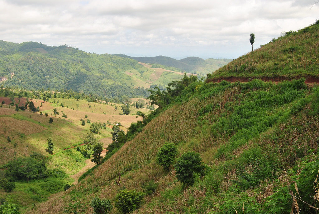 Green and brown hills of Shan State, Myanmar (Burma)