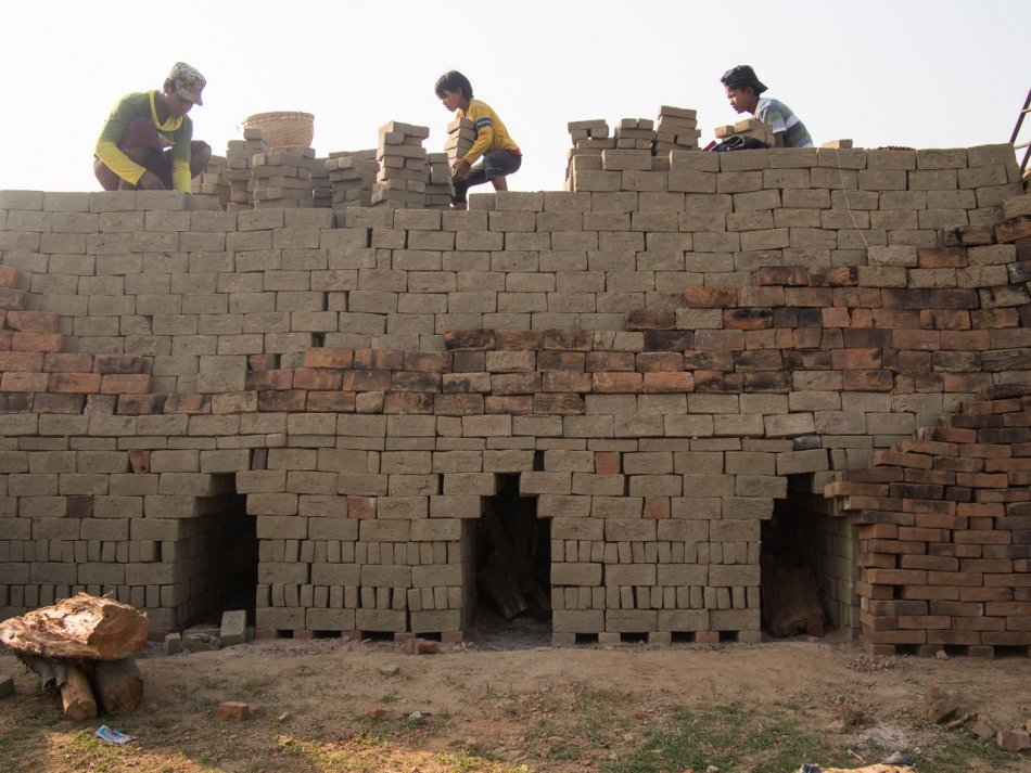 Workers at the brick factory