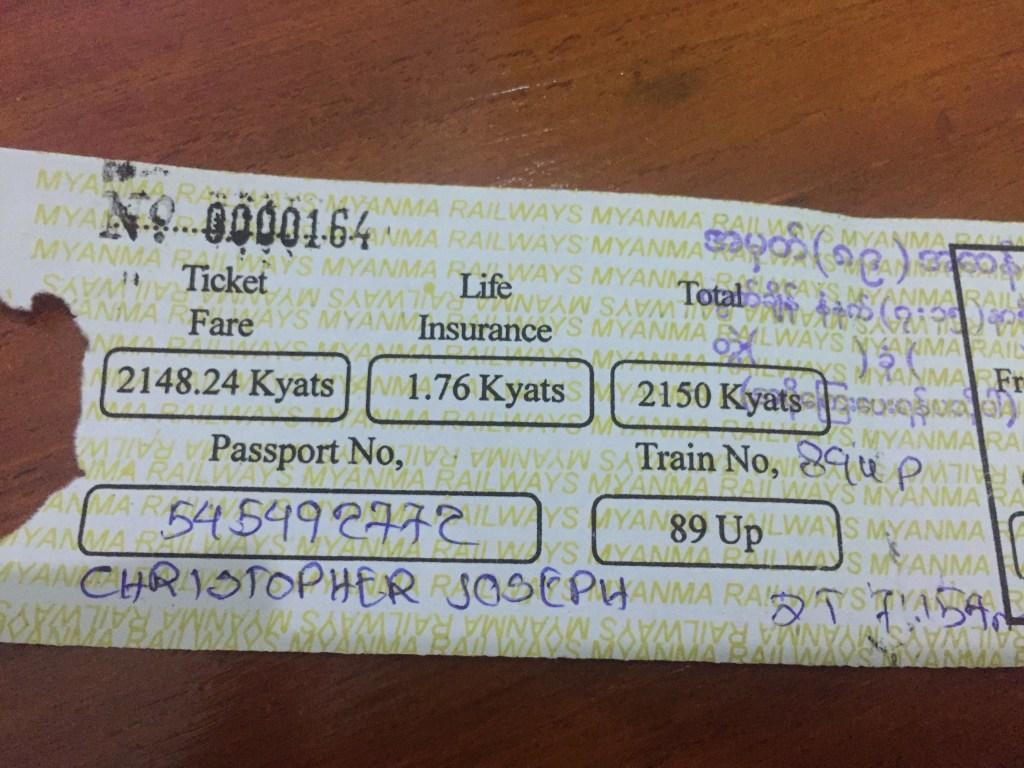 Ordinary class paper ticket for the Yangon train to Mawlamyine