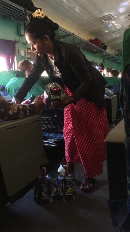 Food vendor on the Yangon train to Mawlamyine