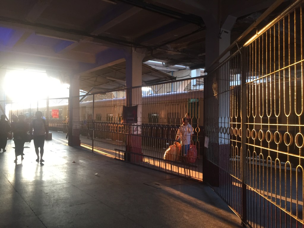 Early morning on the platform at Yangon Central Railway Station