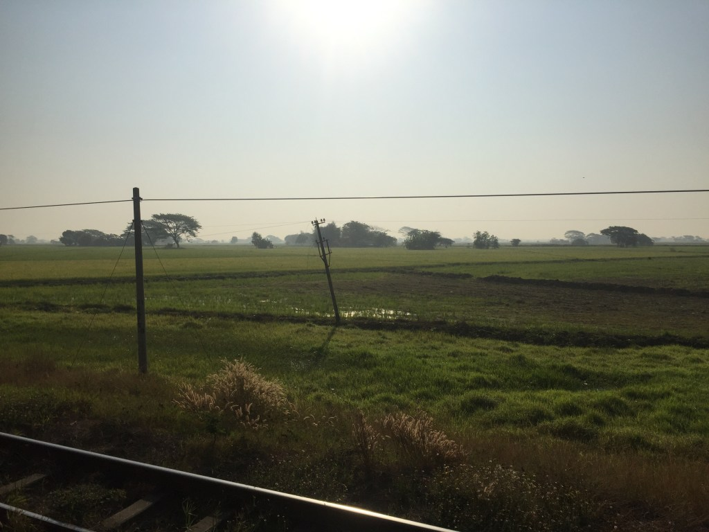 Railway track, green fields and blue sky view from the train