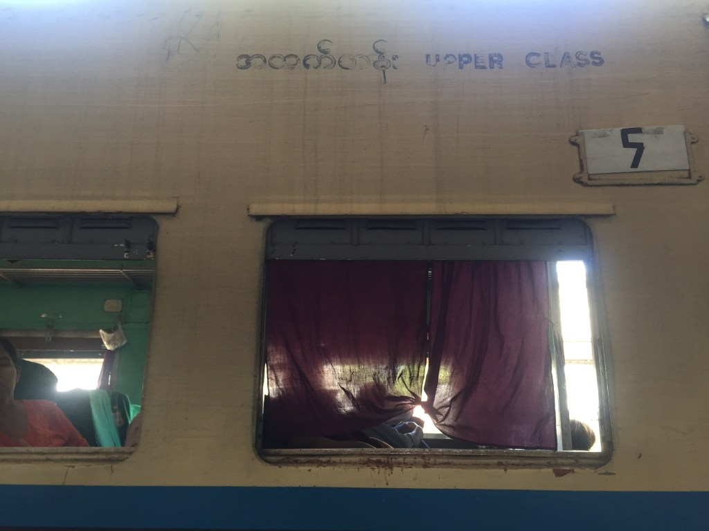 Outside view of the upper class Myanmar Railways carriage