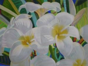 """Plumerias Yellow Heart"", 21"" x 17"" original watercolor by Fabienne Blanc"