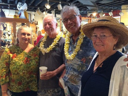 Mom and I with friends Carl Sherry and Gordon Tang, Woodturners
