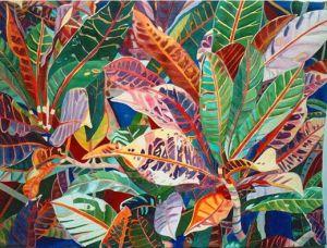 """Deep Purple, crotons, watercolor by Fabienne Blanc, 23 x 30"""" unframed"""