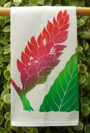 red torch ginger kitchen towel by Janet Holaday, made in Hawaii