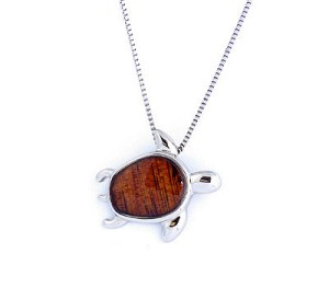 Koa honu pendant with chain