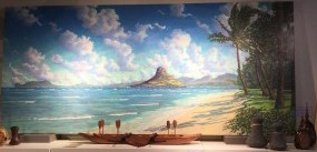 Russell Lowrey painting Mokoli'i Island Kualoa