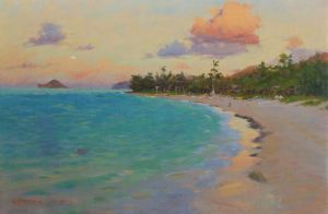 Mark Norseth Twilight Lanikai original oil painting 20 x 30 23 x 33 framed $3,500