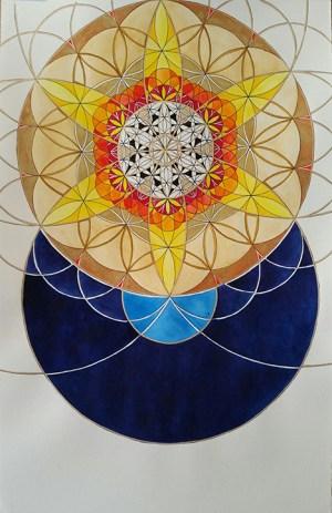Lauren Rees Salm original Between Heaven and Earth watercolor ink and pen on paper