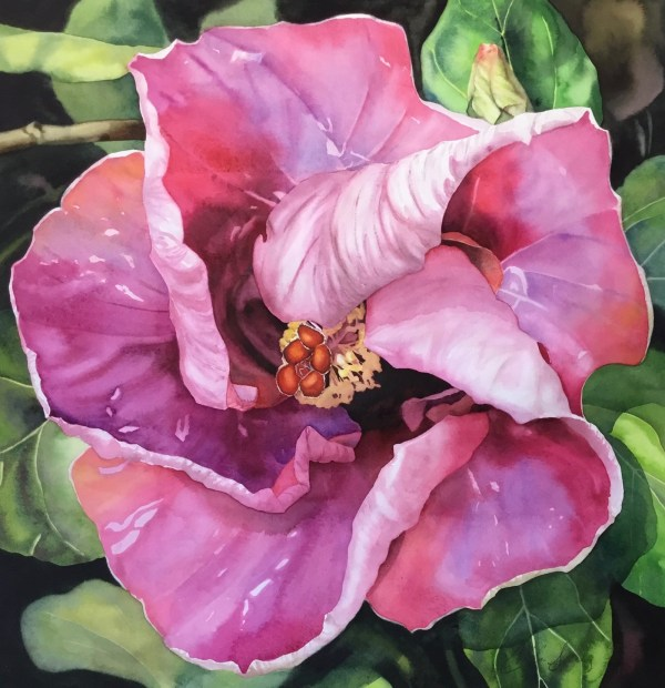 Colleen Sanchez original watercolor painting Flirty 22 x 22 unframed