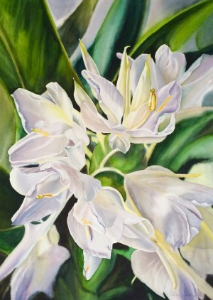 Colleen Sanchez original watercolor painting Sweet Gingers 22 x 30 unframed