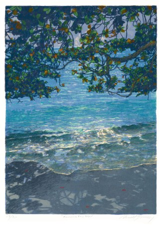 Russell Lowrey giclee Kahala Bay on a full moon night