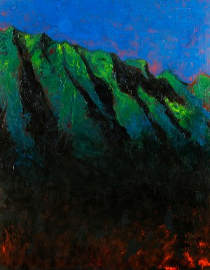 Ko'olau Night original oil on wood panel Robert McGuire artist