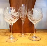 Etched Wine Glasses and Champagne Flute Group
