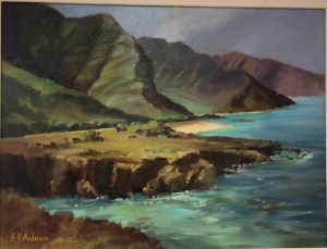 "Hawaii, Rugged, and Tranquil original oil by Susie Anderson 24"" x 18"""