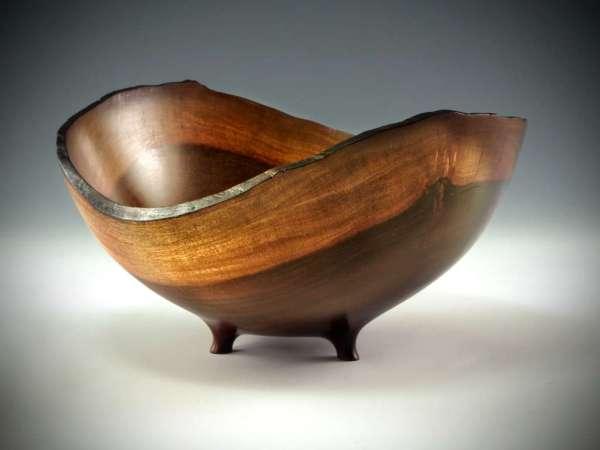 """Sharon Doughtie Milo natural-edged bowl w/ feet 9.5"""" x 8.5"""" x 4.75"""""""