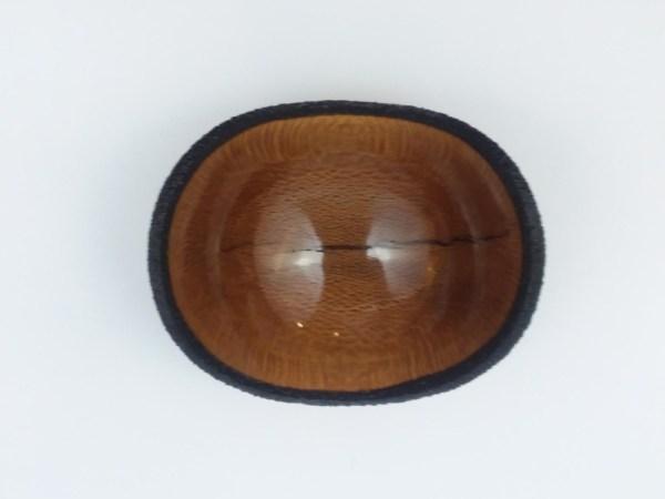 Craig Mason Macadamia Nut waney edge bowl w/ 3 milo pewas