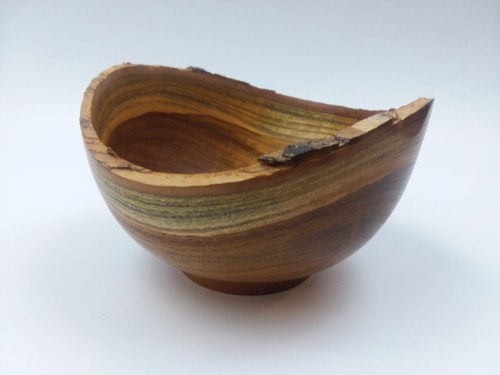 "Craig Mason Teak Wood natural edge bowl 3"" x 5.75"""