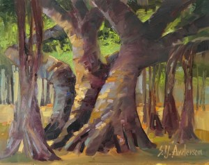 "Banyan Hula oil on cradled panel by Susie Anderson 12"" x 12"""
