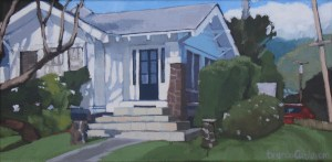 Brenda Cablayan original painting, House on the Corner 6 x 12