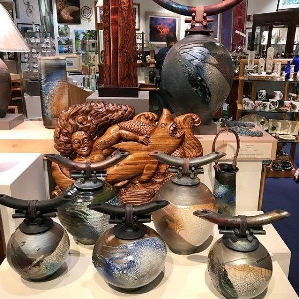 Jeff Chang raku lidded vessels