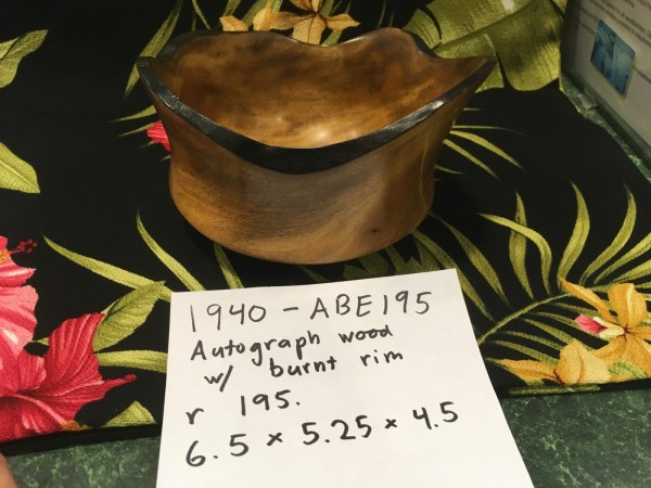 Autograph tree bowl made by Carl Sherry 6.5 x 5.25 x 4.5