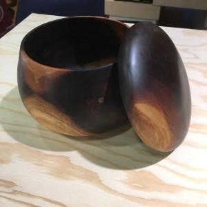 Hawaiian milo lidded umeke (bowl) 5.5 x 4.74 Gordon Tang