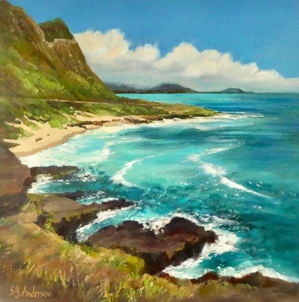 Steep and Deep original oil painting by Susie Anderson of Makapuu 20 x 20