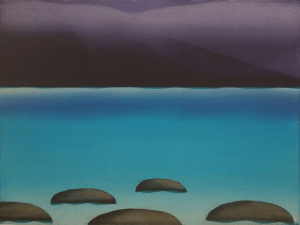 Diana Lehr Painting Sea with Mountain Rain 32 x 40