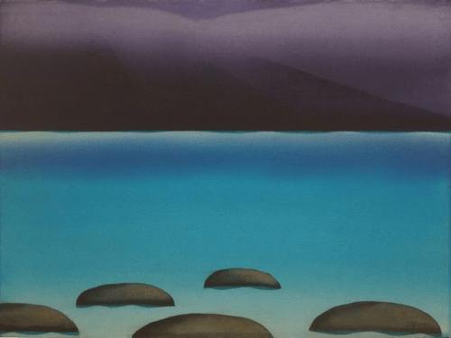 Diana Lehr Painting Sea with Mountain Rain 32 x 40
