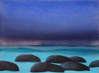 Diana Lehr Painting Stones in a Rolling Sea 28 x 36