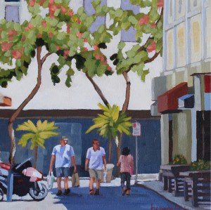 Downtown Shoppers, painting by Brenda Cablayan 12 x 12