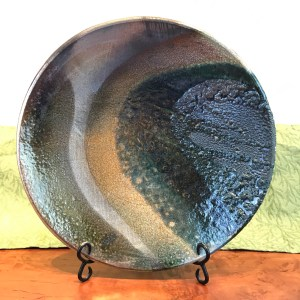 Jeff Chang Raku Wall Platter 15.25 Diameter
