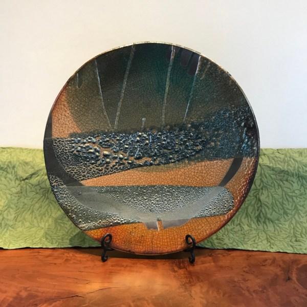 Jeff Chang Raku Wall Platter 19 Diameter(2)