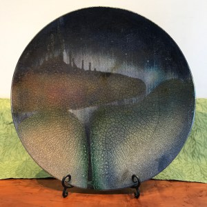 Jeff Chang Raku Wall Platter 19 Diameter