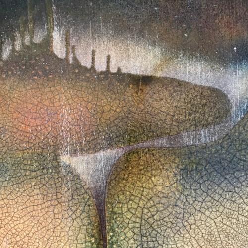 Jeff Chang Raku Wall Platter 19 Diameter