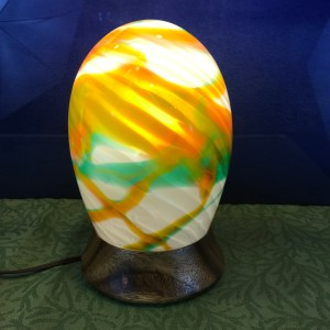 "Bud Spindt Blown Glass Lamp Ohai Turned Base 'Aurora Tropicalus #4' 10""Hx6""D (#2)"
