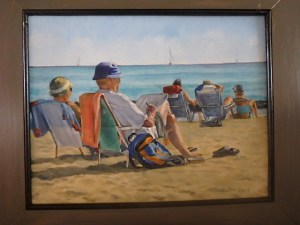"Burton Uhr 'Folding Chairs at the Beach' Oil Painting 11""x 14"""