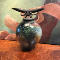 "Jeff Chang Raku Warrior Pot 16""Hx12.5""Wx10""D"