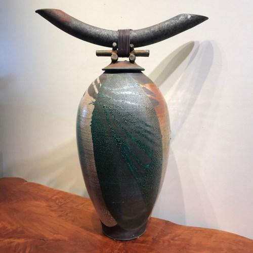 "Jeff Chang Raku Warrior Pot 25.5""Hx18.75""Wx11""D"