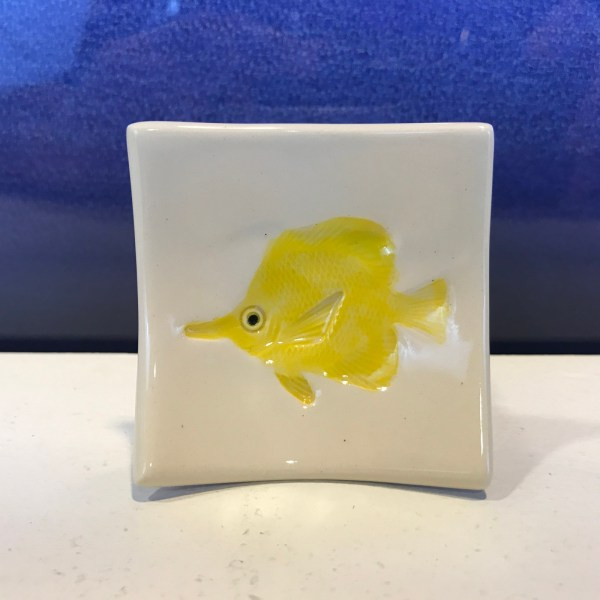 "Lorna Newlin Ceramic Yellow Tang Fish Dish 2.5""x2.5"" (representative)"