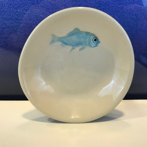 "Lorna Newlin Small Blue Fish Dish 4"" Diameter (representative)"