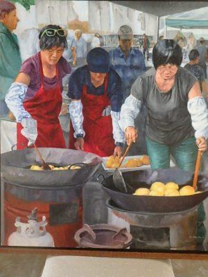 "Burton Uhr 'Malasadas (3 women)' Oil Painting 34""x 30"""