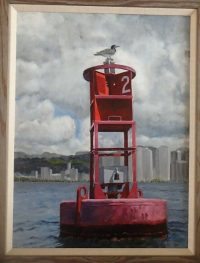 "Burton Uhr 'Outer Buoy' Oil Painting 24""x 18"""