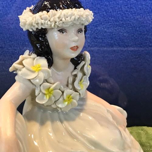 "Peter Okimoto Porcelain Kneeling Hula Maiden 5.25""Hx5.5""W (representative)"