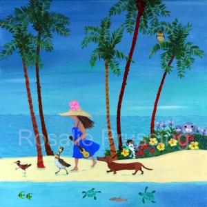 "Rosalie Prussing Aloha Beach Walk Image 6""x6"", Overall 8""x8"""