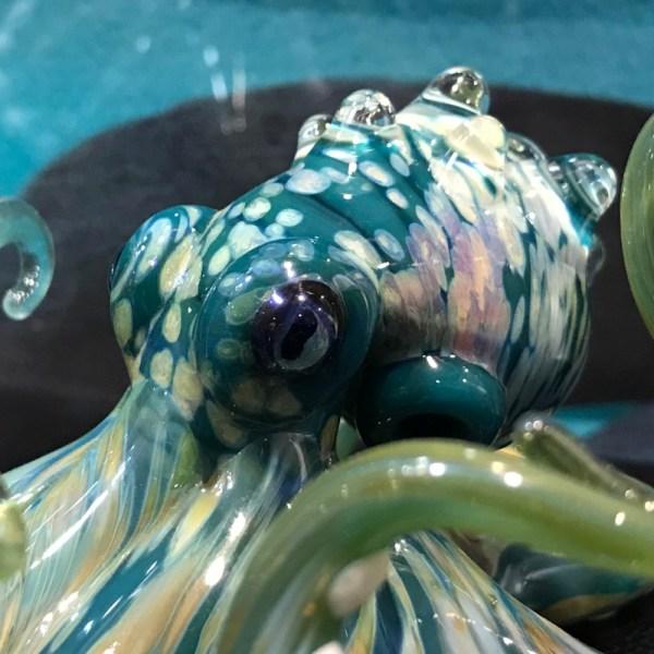 "Chris Upp Glass Octopus 8""L x 3.5""W x 2.25""H (C)"